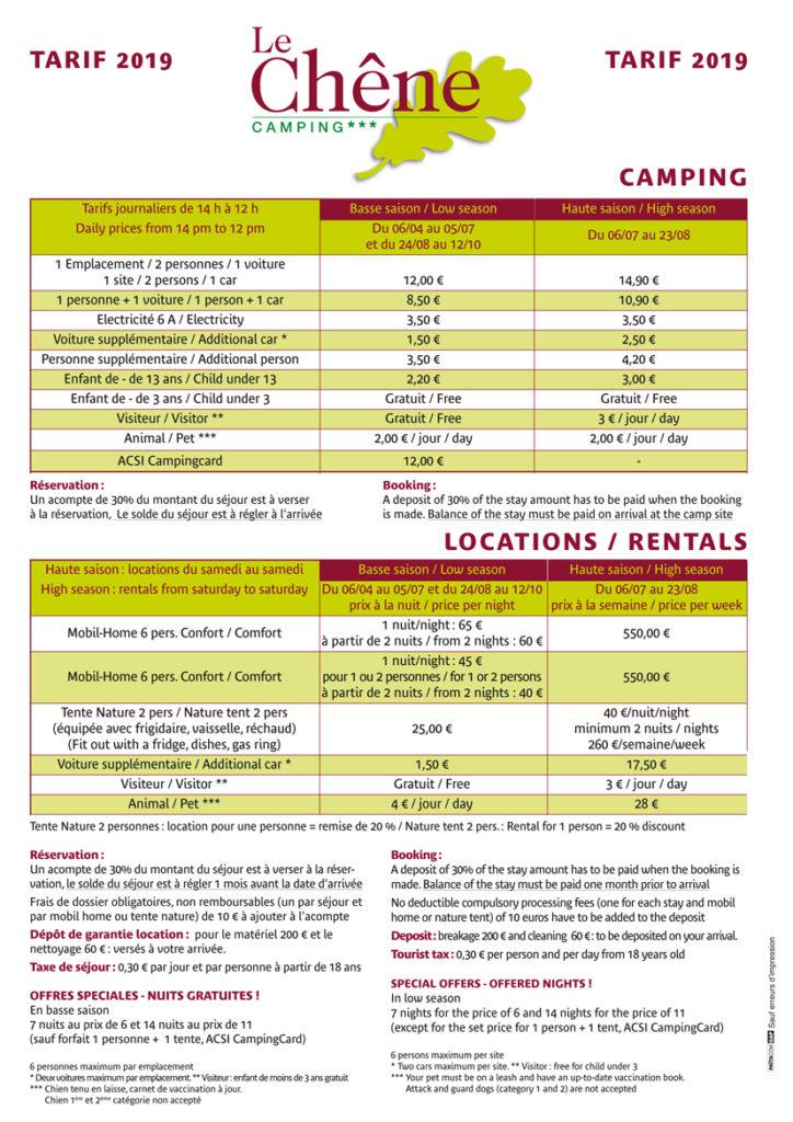 Contrat de Location Camping Le Chêne 3 étoiles Tallard Hautes-Alpes